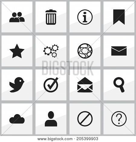 Set Of 16 Editable Internet Icons. Includes Symbols Such As Magnifier, Bookmark, Group And More