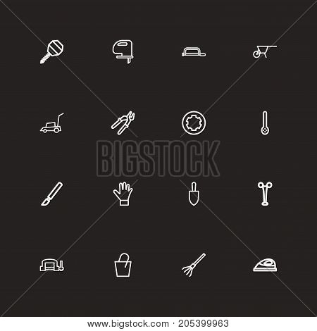 Set Of 16 Editable Apparatus Outline Icons. Includes Symbols Such As Screw Head, Medical Instrument, Drill And More
