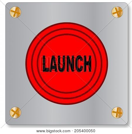 The big red launch button on a white background