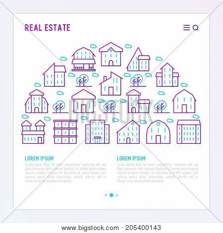 Real estate concept with thin line houses and trees. Modern vector illustration for background of banner, web page, print media.