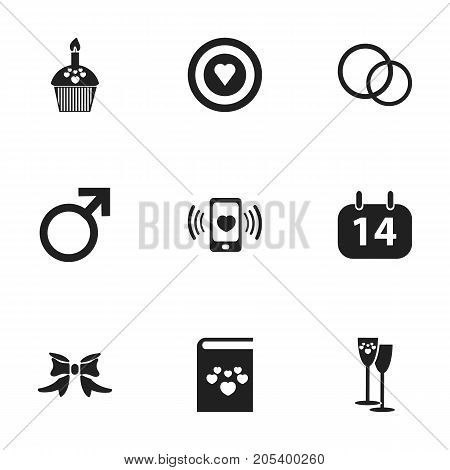 Set Of 9 Editable Love Icons. Includes Symbols Such As Butterfly, Male Sign, Smartphone And More