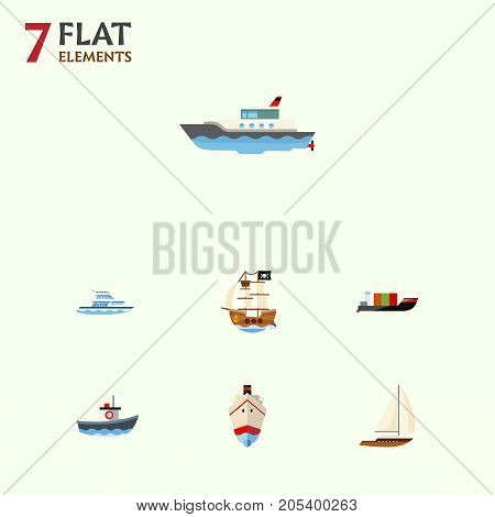 Flat Icon Boat Set Of Tanker, Vessel, Transport And Other Vector Objects