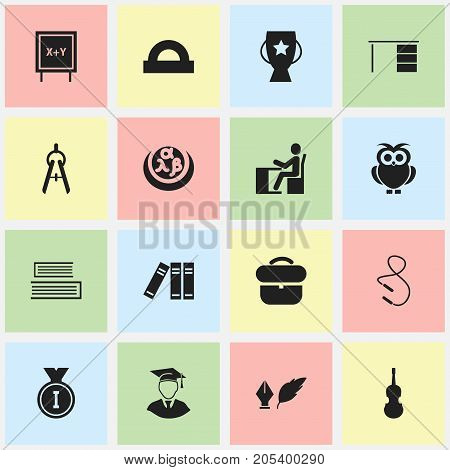 Set Of 16 Editable Education Icons. Includes Symbols Such As Goblet, Bookshelf, Novel And More