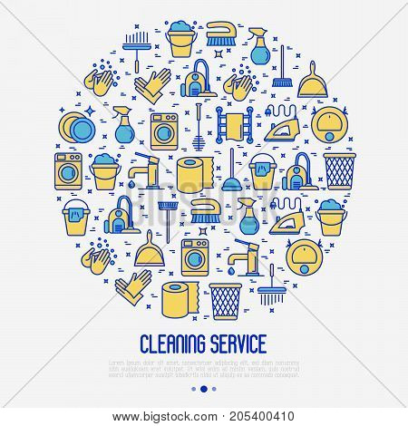 Cleaning service concept in circle with thin line icons: iron, washer, robot vacuum cleaner, brushes and other accessories for household. Vector illustration for banner, web page, print media.