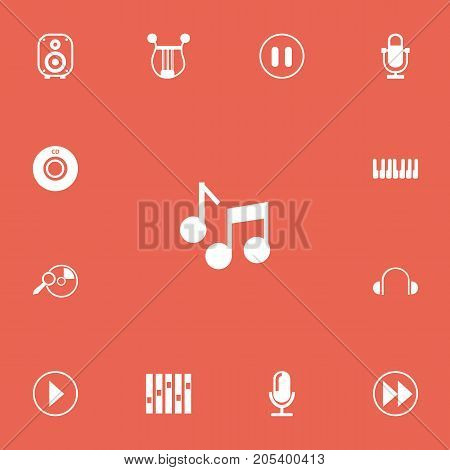 Set Of 13 Editable Music Icons. Includes Symbols Such As Audio Note, Start Audio, Musical Instrument And More