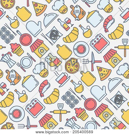 Restaurant seamless pattern with thin line icons: chef, kitchenware, food, beverages for menu or print media. Vector illustration for banner, web page.
