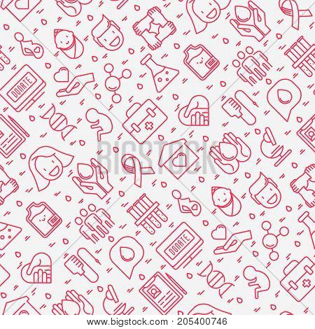 Blood donation seamless pattern with thin line icons. World blood donor day. Vector illustration for web page, banner, print media.