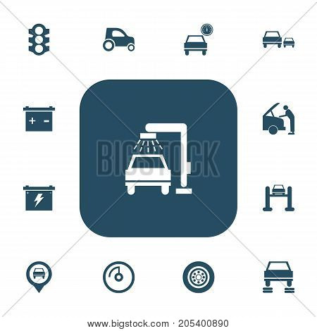 Set Of 13 Editable Car Icons. Includes Symbols Such As Battery, Pinpoint, Vehicle Wash And More