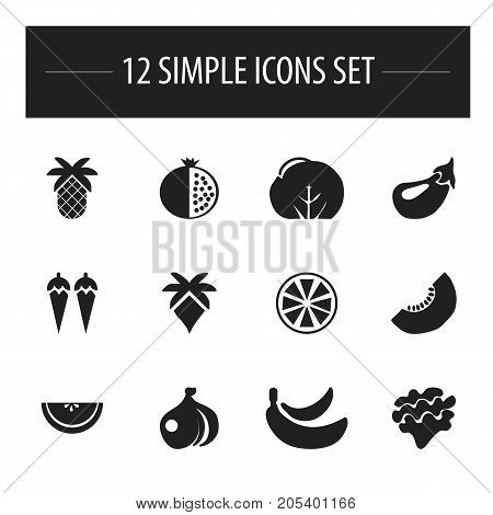 Set Of 12 Editable Fruits Icons. Includes Symbols Such As Garnet, Palm, Cantaloupe And More