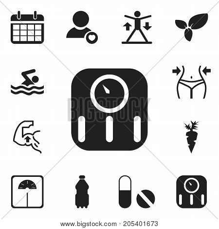 Set Of 12 Editable Exercise Icons. Includes Symbols Such As Sport Water, Plant, Root Vegetable And More