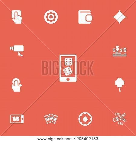 Set Of 13 Editable Gambling Icons. Includes Symbols Such As Tracking Cam, Cell Play Cards, Money And More