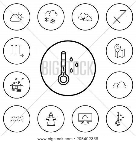 Set Of 12 Editable Climate Outline Icons. Includes Symbols Such As Pin, Archer, Cloudy And More
