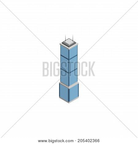 Apartment Vector Element Can Be Used For Apartment, Tower, Cityscape Design Concept.  Isolated Cityscape Isometric.