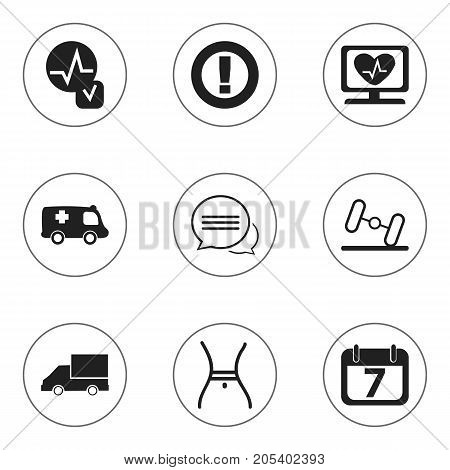 Set Of 9 Editable Complicated Icons. Includes Symbols Such As Heartbeat, Dumbbell, Heart Rhythm And More