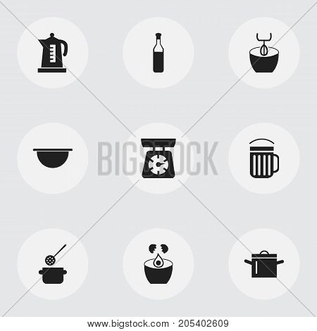 Set Of 9 Editable Kitchen Icons. Includes Symbols Such As Beer, Food, Stir And More