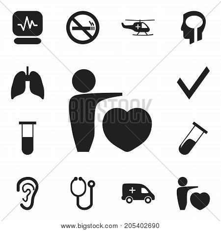 Set Of 12 Editable Care Icons. Includes Symbols Such As Respiratory Organ, Pulse, Stop Smoke And More