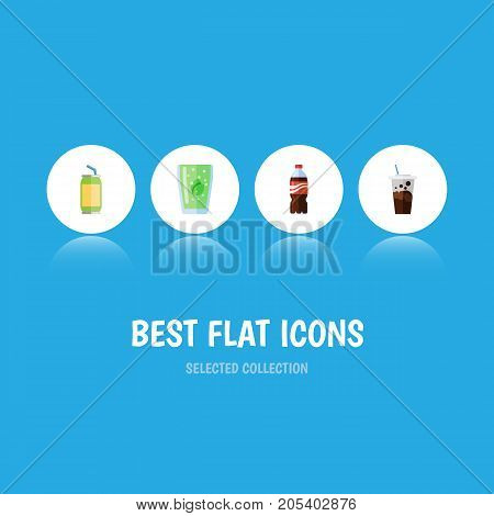 Flat Icon Drink Set Of Bottle, Cup, Carbonated And Other Vector Objects