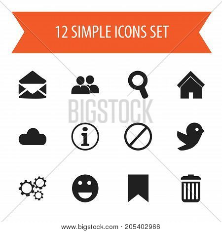 Set Of 12 Editable Internet Icons. Includes Symbols Such As Home, Magnifier, Sky And More