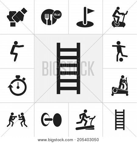 Set Of 12 Editable Exercise Icons. Includes Symbols Such As Stopwatch, Strength, Fight And More