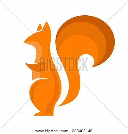 Orange Squirrel Icon Isolared on White Background. Omnivorous Rodent with Fluffy Tail