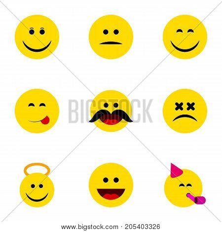 Flat Icon Emoji Set Of Laugh, Angel, Cross-Eyed Face And Other Vector Objects