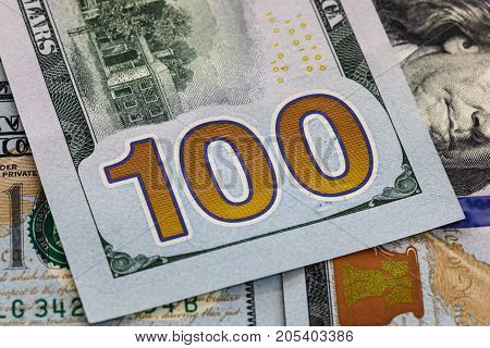 Close up of an United States of America one hundred dollar note - bill. US Dollars.