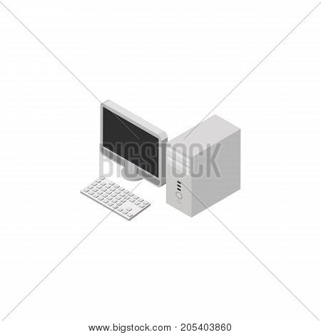 Computer Vector Element Can Be Used For Desktop, PC, Computer Design Concept.  Isolated Desktop PC Isometric.