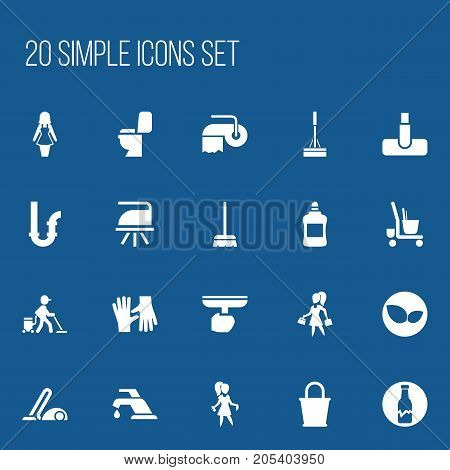 Set Of 20 Editable Cleaning Icons. Includes Symbols Such As Housework, Badge, Flatiron And More