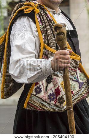 SELARGIUS, ITALY - SEPTEMBER 10, 2017: 57th Edition of the Old Marriage selargino - detail of a traditional Sardinian costume - Sardinia