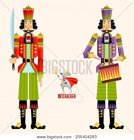 Two Christmas Nutcrackers and the mouse king. Vector illustration