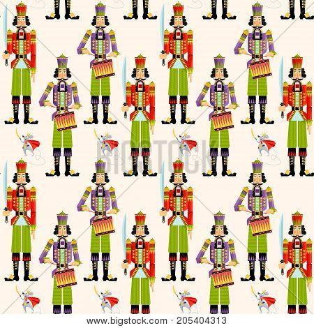 Сhristmas Nutcrackers. Seamless background pattern. Vector illustration.