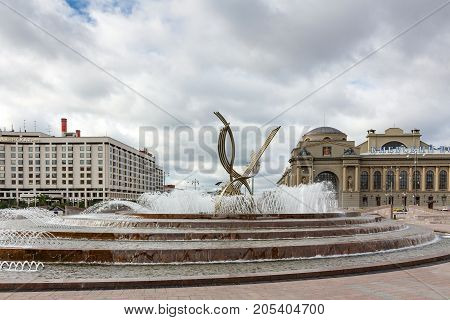 Moscow, Russia - September 16, 2017 - Abduction Of Europe Fountain On Europe Square In Moscow