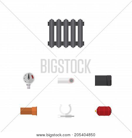 Flat Icon Plumbing Set Of Container, Conduit, Pressure And Other Vector Objects