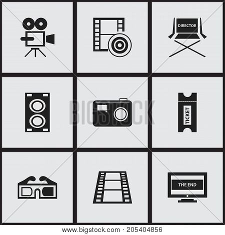 Set Of 9 Editable Movie Icons. Includes Symbols Such As Photographing, Coupon, Camera Strip And More