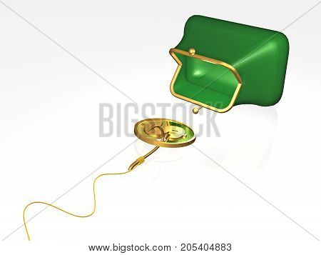 Money and purse on white background 3D illustration.