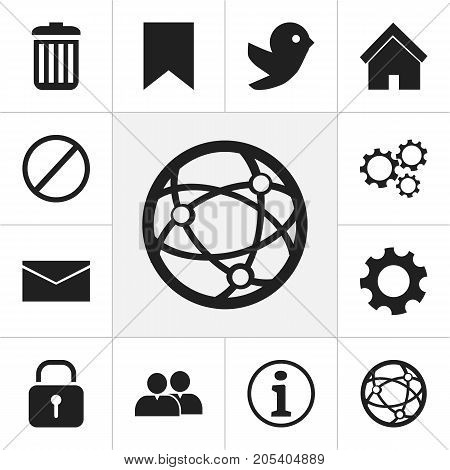 Set Of 12 Editable Internet Icons. Includes Symbols Such As Mail, Recycle Bin, Deny And More