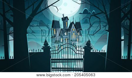 Gothic Castle Behind Gates In Moonlight Scary Building With Ghosts Halloween Holiday Concept Flat Vector Illustration