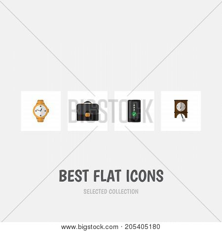 Flat Icon Life Set Of Timer, Clock, Briefcase And Other Vector Objects