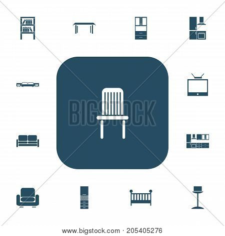 Set Of 13 Editable Furnishings Icons. Includes Symbols Such As Seat, Cuisine, Child Cot And More