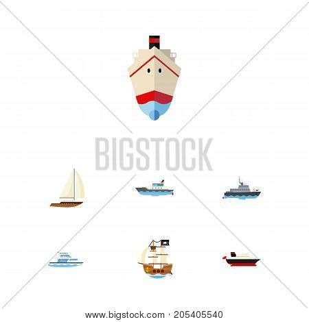 Flat Icon Boat Set Of Delivery, Vessel, Sailboat And Other Vector Objects