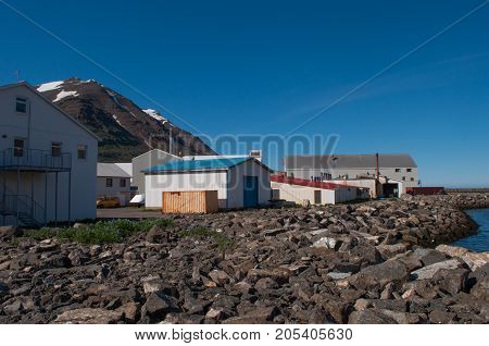Industrial Buildings In Town Of Siglufjordur In North Iceland