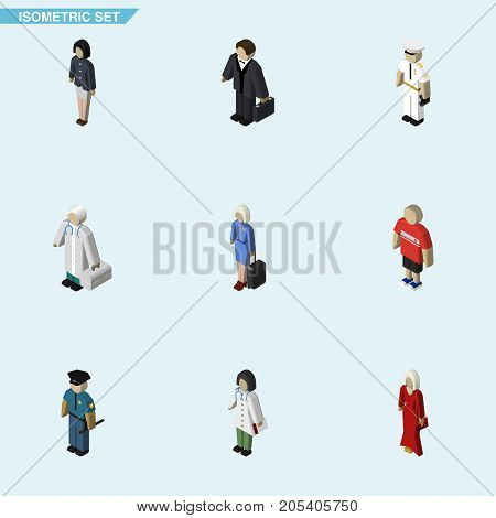 Isometric Human Set Of Girl, Officer, Seaman And Other Vector Objects