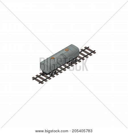 Oil Wagon Vector Element Can Be Used For Oil, Petroleum, Wagon Design Concept.  Isolated Petroleum Railway Can Isometric.