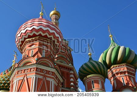 Domes of a St. Basil's Cathedral in Moscow, Russia. Bottom view