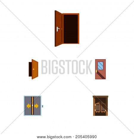 Flat Icon Approach Set Of Approach, Door, Lobby And Other Vector Objects