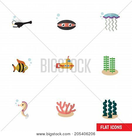 Flat Icon Nature Set Of Seafood, Algae, Hippocampus And Other Vector Objects