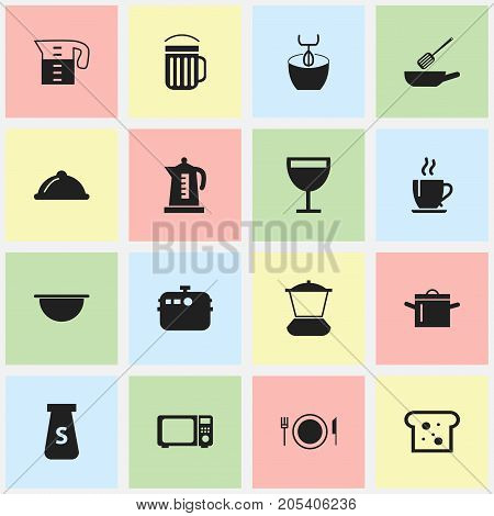 Set Of 16 Editable Kitchen Icons. Includes Symbols Such As Mixer, Water Jug, Frying Pan And More