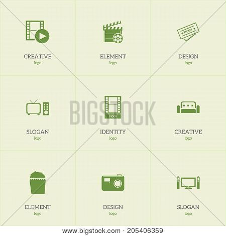 Set Of 9 Editable Filming Icons. Includes Symbols Such As Movie, Couch, Ticket And More