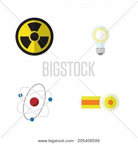 Flat Icon Science Set Of Orbit, Irradiation, Lightbulb And Other Vector Objects