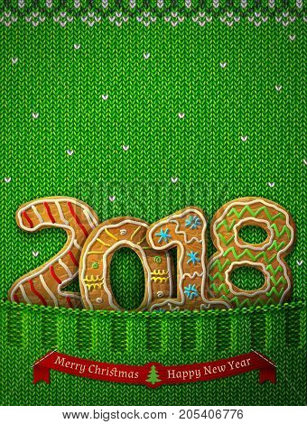 New Year 2018 in shape of gingerbreads in knitted pocket. Jumper fragment with year number like cookies. Vector illustration for new years day christmas